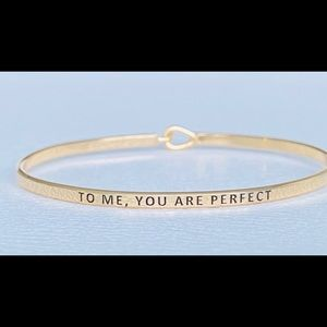 To me you are perfect thin hook bangle bracelet